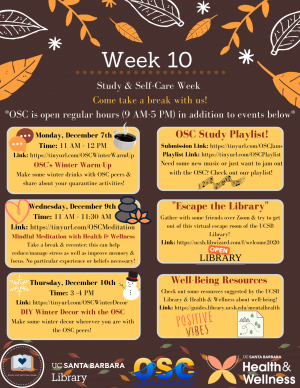 Study and Self-Care Week Event List