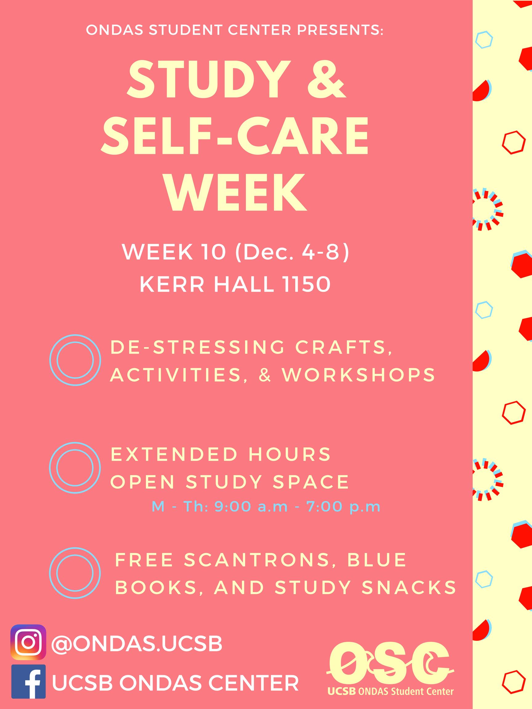 Study Self Care Week Ondas Student Center Uc Santa Barbara