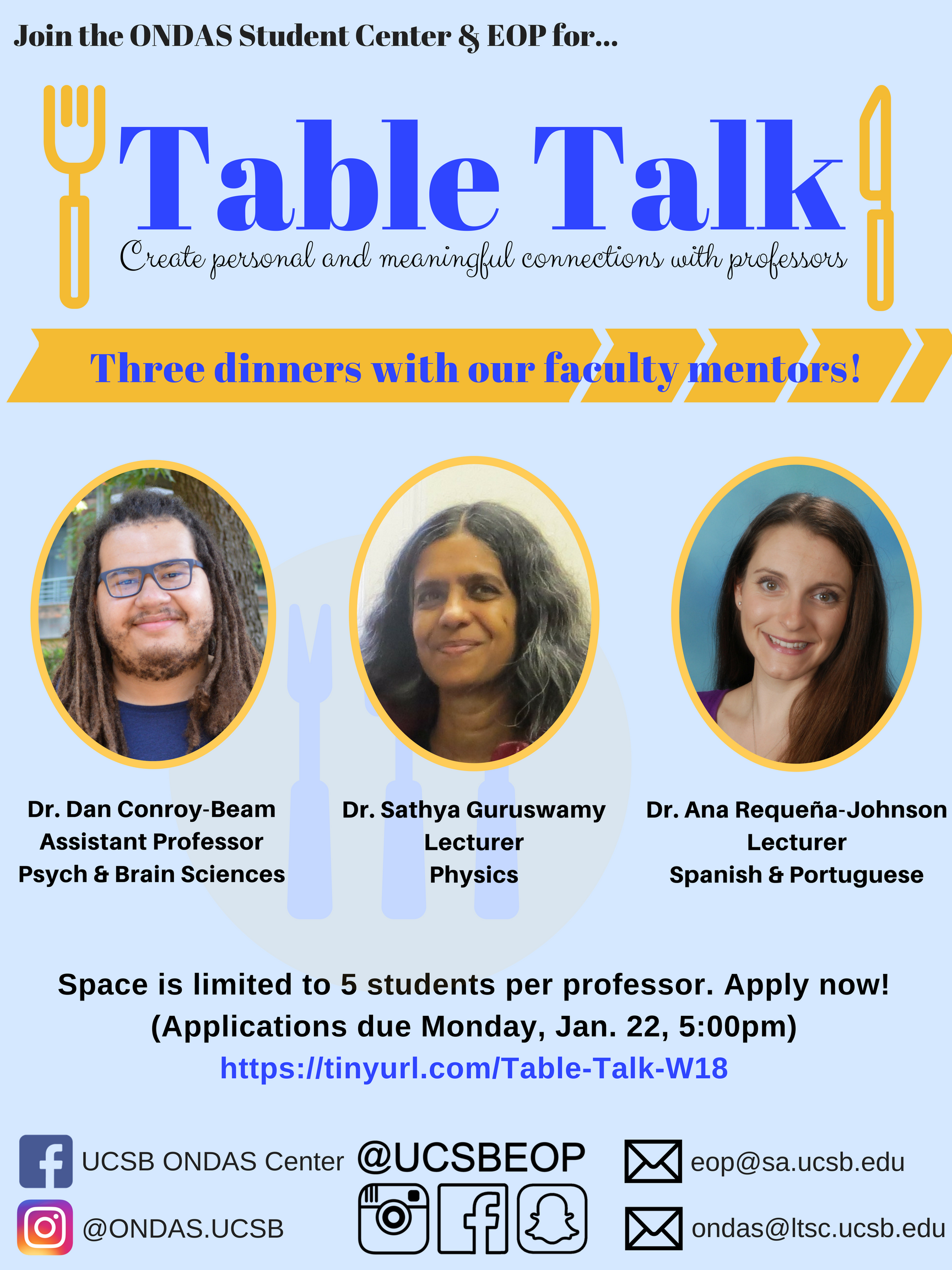 Table Talk; Create personal and meaningful connections with professors
